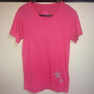 エム(M)のM スタープリントピンクカットソー サイズS 超美品!(Tシャツ/カットソー(半袖/袖なし))
