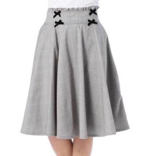 リズリサ(LIZ LISA)のLIZ LISA☆新品♪Tralala*リボン付きミモレ丈グレンチェックスカート(ひざ丈スカート)