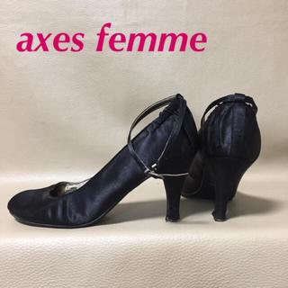 アクシーズファム(axes femme)のaxes femme パーティーパンプス アンクルストラップパンプス ブラック(ハイヒール/パンプス)