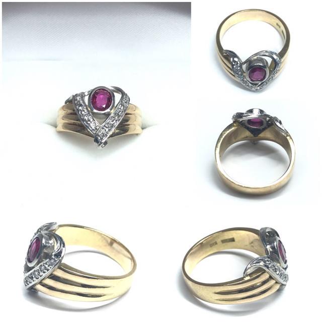 2214 ルビー ダイヤモンド K18 Pt900 リング 17号 レディースのアクセサリー(リング(指輪))の商品写真