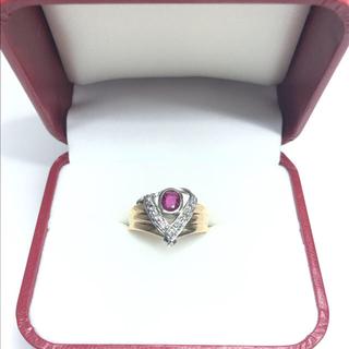 2214 ルビー ダイヤモンド K18 Pt900 リング 17号(リング(指輪))