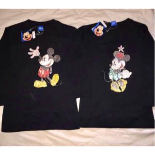 ディズニー(Disney)の選ぶ1点 ミッキーミニー♪ ビーズ 長袖 Tシャツ M 黒(Tシャツ(長袖/七分))