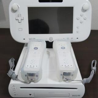 ニンテンドウ(任天堂)のWiiU 32GB 白 Wiiリモコン2個セット(箱なし)(家庭用ゲーム本体)