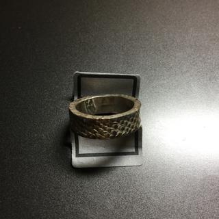 蛇柄模様入り銀メッキ14号リング(13)マニア★ワイルド★ギャル★シルバー★珍品(リング(指輪))