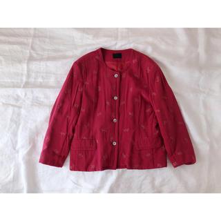 刺繍 シルクのノーカラージャケット(ノーカラージャケット)