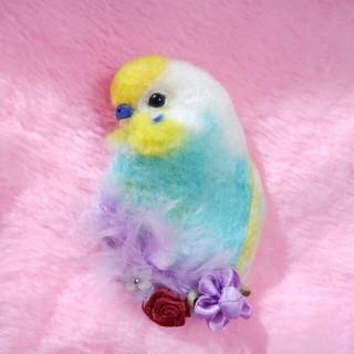 羊毛フェルト セキセイインコブローチ 黄色頭水色×白(コサージュ/ブローチ)