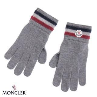 モンクレール(MONCLER)の【23】MONCLER  ロゴワッペン WOOL100%手袋 グレーL (手袋)