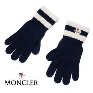 モンクレール(MONCLER)の【8】MONCLER ロゴワッペン ネイビー 手袋/size L(手袋)