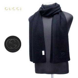 グッチ(Gucci)の【24】GUCCI マフラー/ストール 男女兼用 WOOL100% ブラック (マフラー)