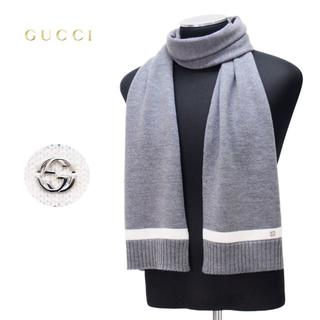 グッチ(Gucci)の【25】GUCCI マフラー/ストール 男女兼用 WOOL100% グレー(マフラー)