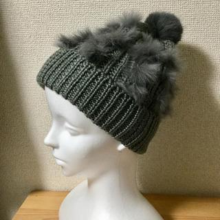 シマムラ(しまむら)のラビットファー付きニット帽(ニット帽/ビーニー)