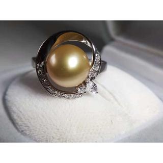 Pt900 ゴールデンパール白蝶真珠9mm ダイヤモンド0.27ct × リング(リング(指輪))