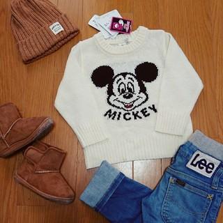 ディズニー(Disney)の新品タグ付き ミッキー ニット セーター 90 男女兼用 ディズニー 双子ちゃん(ニット)