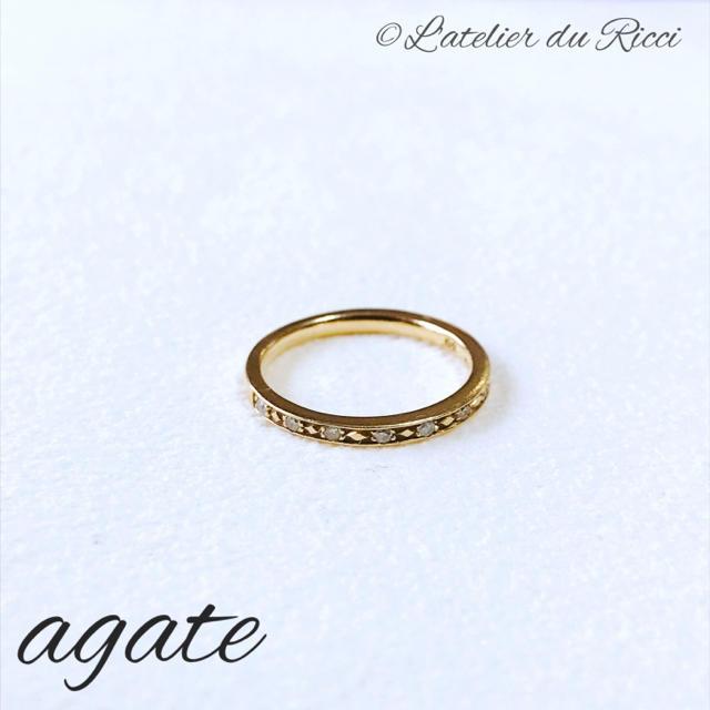 agete(アガット)のagate K10 YG ダイヤ ハーフエタニティ ピンキーリング 3号 レディースのアクセサリー(リング(指輪))の商品写真