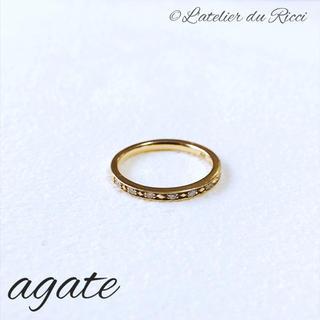 アガット(agete)のagate K10 YG ダイヤ ハーフエタニティ ピンキーリング 3号(リング(指輪))
