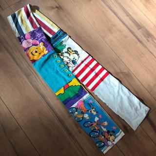 ディズニー(Disney)の美品プーさんミッキーアメリカ古着使用ハンドメイドマフラービンテージディズニー(マフラー/ショール)