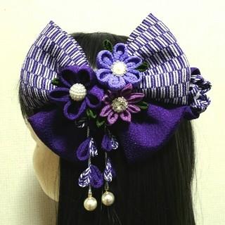 髪飾り 髪飾り紫 矢絣髪飾り はいからさんリボン 卒業式髪飾り 袴髪飾り 着物 (ヘアアクセサリー)