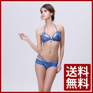 【新品】ブラショーツ セット レース ブルー【送料無料】8786BU(ブラ&ショーツセット)