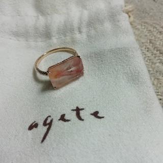 アガット(agete)のagete  K10 リング ヘマタイトインローズクォーツ(リング(指輪))
