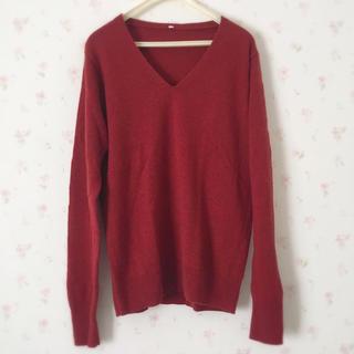 ムジルシリョウヒン(MUJI (無印良品))の無印良品 ヤクウールVネックセーター L 赤  ボルドー ニット(ニット/セーター)