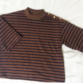 ジーユー(GU)のブラウンカラーボーダーTシャツ★(Tシャツ(長袖/七分))