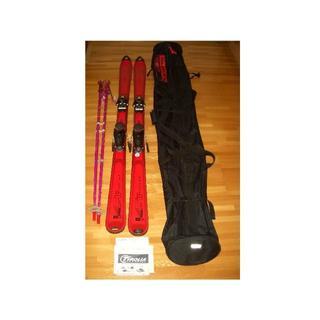 エラン(Elan)のELANスキー板160赤*SALOMONスキーバッグ黒*ビンディング*ストック(板)