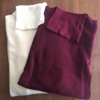 ムジルシリョウヒン(MUJI (無印良品))の無印良品タートルネックニット白(ニット/セーター)
