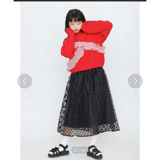 メリージェニー(merry jenny)のフロッキードットオーガンジースカート(ひざ丈スカート)
