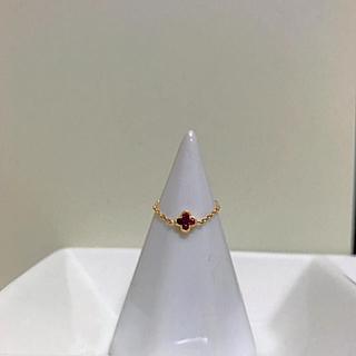 アーカー(AHKAH)の【最終お値下げ】K18YG/Ruby チェーンピンキーリング(リング(指輪))