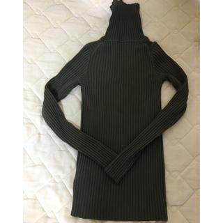 ムジルシリョウヒン(MUJI (無印良品))の無印良品 リブタートル カーキ XS(ニット/セーター)