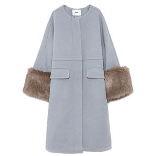 ファーファー(fur fur)のエコファーノーカラーコート(ノーカラージャケット)