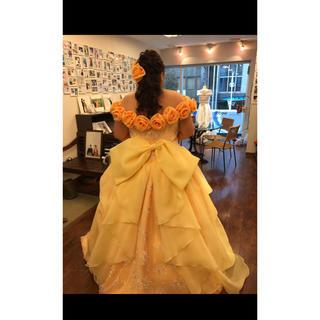 黄色のカラードレス 大きいサイズ(ウェディングドレス)