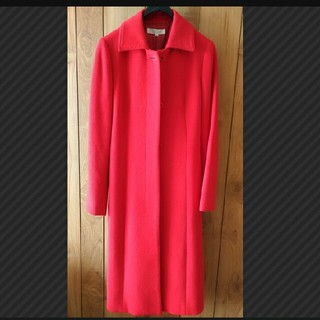 クリアクレア(clear crea)のclear crea コート 赤 サイズ36 アンゴラ60%/毛40%  (チェスターコート)
