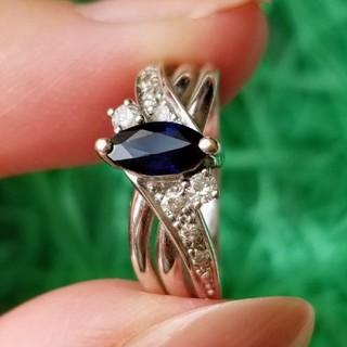 花さま専用【訳あり】サファイア&ダイヤモンドリング K18WG(リング(指輪))