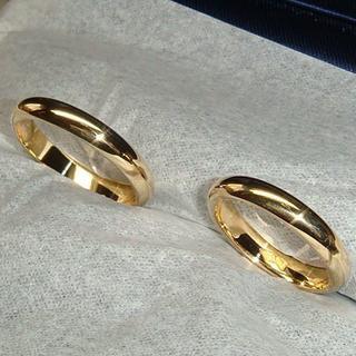★シンプルにK18甲丸のマリッジリング(2本組み)(リング(指輪))