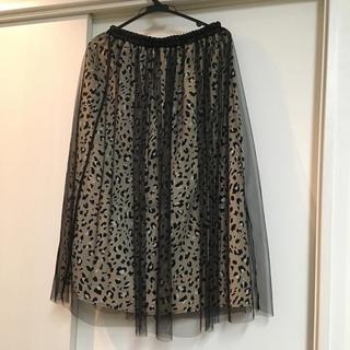 シマムラ(しまむら)のしまむら レオパード チュールスカート 新品(ロングスカート)