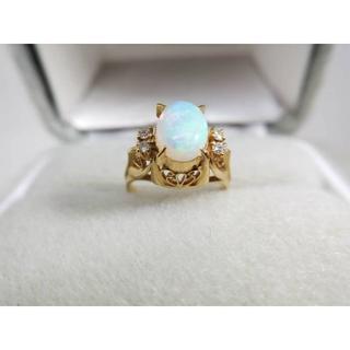 k18 オパール 天然ダイヤデザインリング 指輪(リング(指輪))
