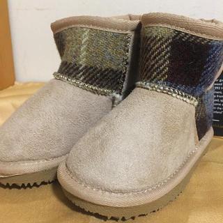 シマムラ(しまむら)の新品未使用 タグ付き 子供 ハリスツイード ムートンブーツ ライトベージュ 15(ブーツ)