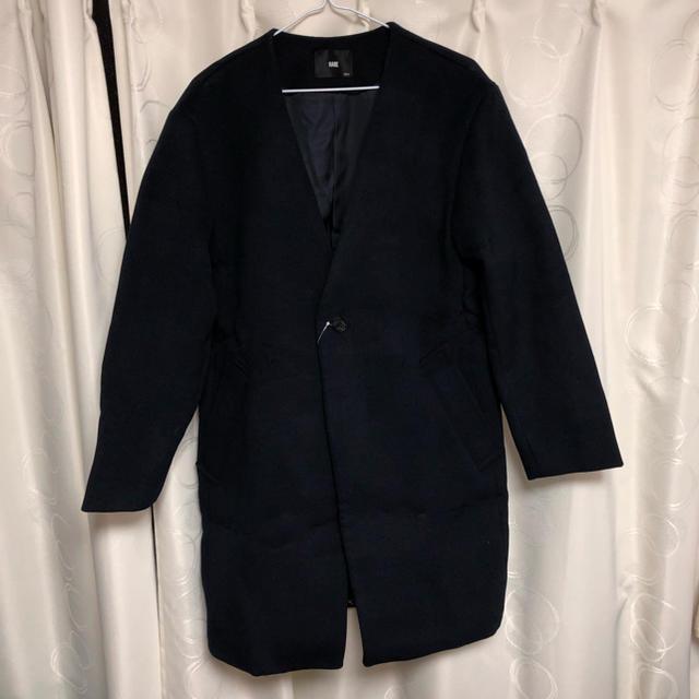 HARE(ハレ)のタイムセール   ハレ HARE 未使用 ノーカラー コート ネイビー メンズのジャケット/アウター(ノーカラージャケット)の商品写真