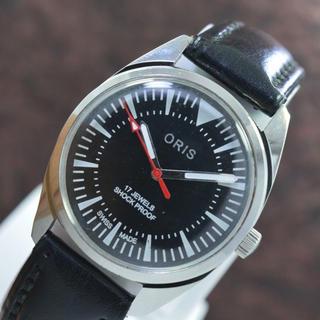 オリス(ORIS)のORIS  オリス シンプル ブラックフェイス 手巻き腕時計(腕時計(アナログ))