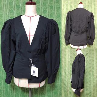 スライ(SLY)の袖ボリューム ジャケット 黒 SLY スライ 個性派(ノーカラージャケット)
