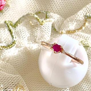 ヨンドシー(4℃)の4℃ ピンクゴールド ダイヤ ルビー ハート リング(リング(指輪))