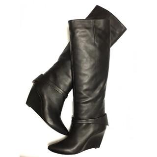 シガーソンモリソン(SIGERSON MORRISON)のロングブーツ ウエッジソール カーフレザー 黒(ブーツ)