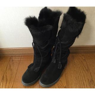 ロングブーツ 35サイズ 22cm相当 お洒落 ブラック 黒 ファー(ブーツ)