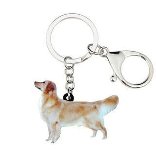 ゴールデンレトリバー キーチェーンキーホルダー♪ 新品未使用品(001)(犬)