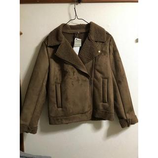 GU - 新品未使用 タグ付GU ムートン風ライダースジャケット