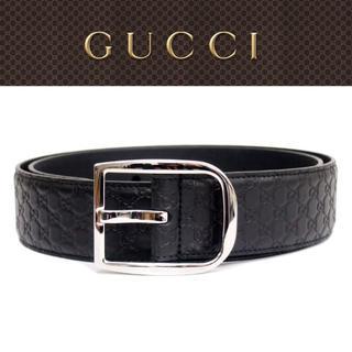 グッチ(Gucci)の【28】GUCCIブラックマイクログッチシマ GGベルト size 80/32(ベルト)