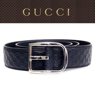 グッチ(Gucci)の【30】GUCCI ネイビー マイクログッチシマ GG レザーベルト 95/38(ベルト)