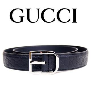 グッチ(Gucci)の【32】GUCCIマイクログッチシマ ネイビー レザー ベルトsize85/34(ベルト)
