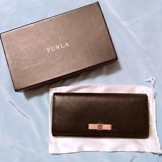 フルラ(Furla)のFURLA ブラック×ピンクリボン 長財布(長財布)